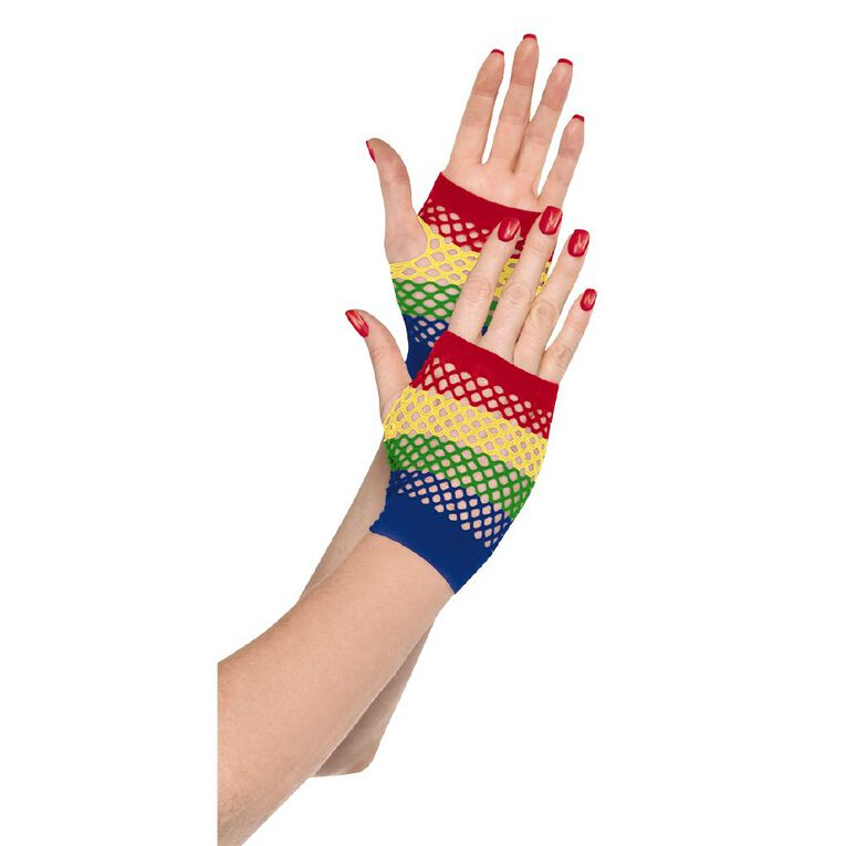 Amscan Short Fishnet Gloves Rainbow Adult, , hi-res