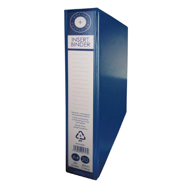 Office Supply Co 2D 38mm Ringbinder Blue A4, , hi-res