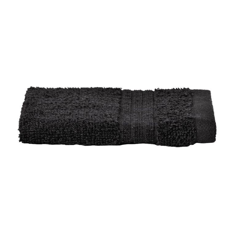 Living & Co Manhattan Face Towel Black 30cm x 30cm, Black, hi-res