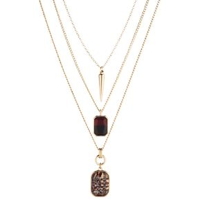 3 Layer Gem Stone Gold Necklace