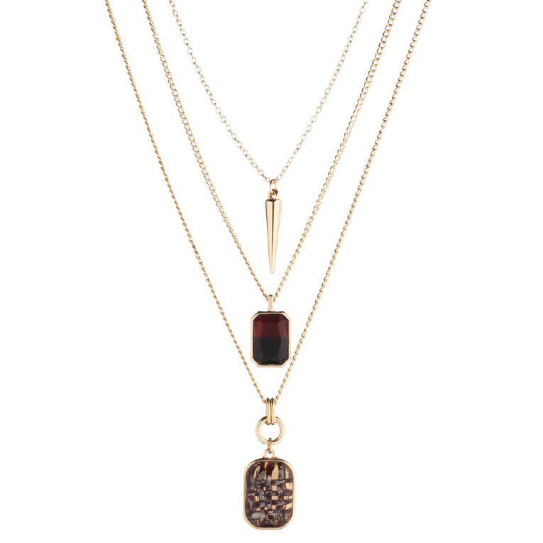 3 Layer Gem Stone Gold Necklace, , hi-res