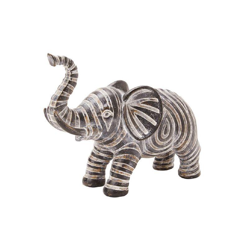 Living & Co Aztec Elephant Ornament Black, , hi-res