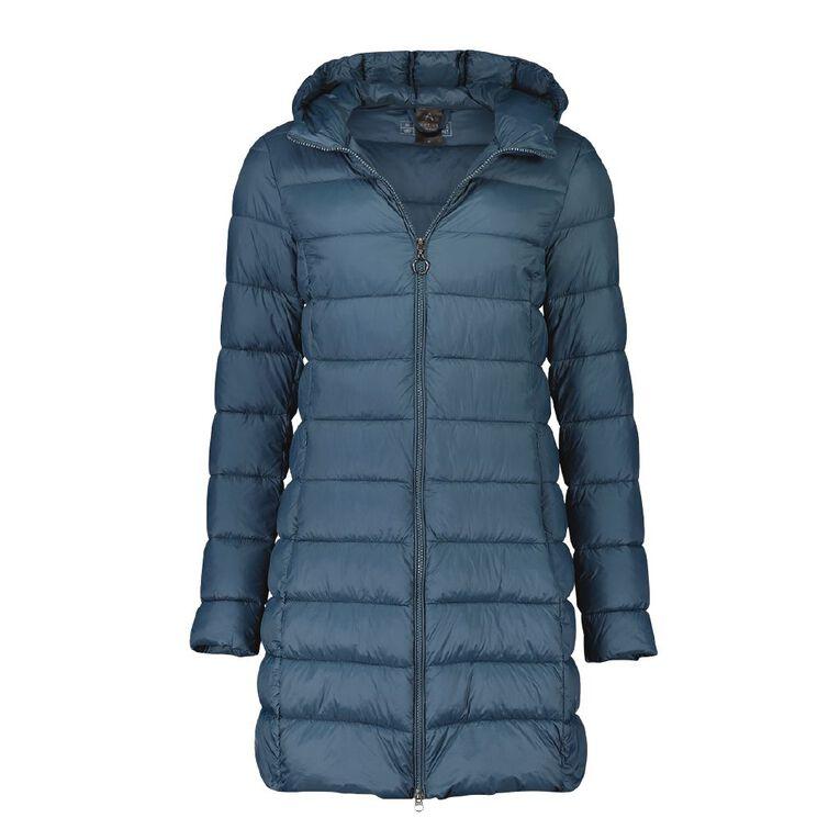 Active Intent Women's Long Line Puffer Jacket, Blue Dark, hi-res