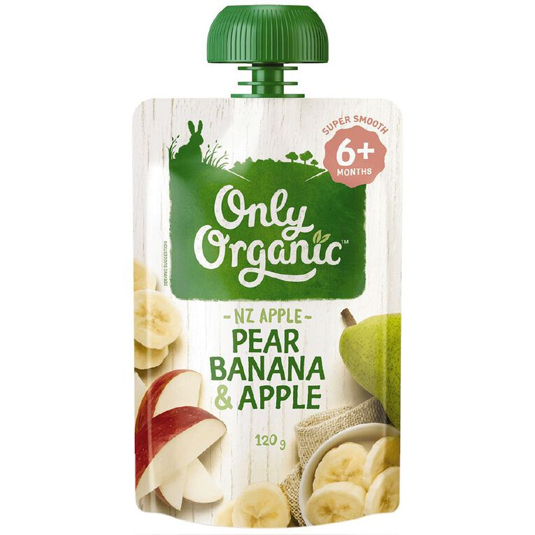 Only Organic Pear Banana & Apple Pouch 120g, , hi-res