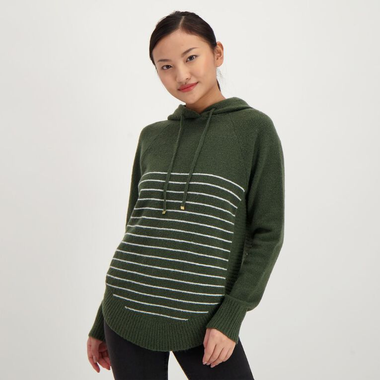 H&H Spongy Knit Hoodie, Green Mid, hi-res