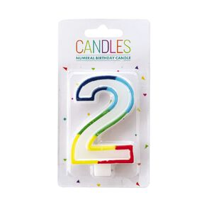 Numeral Candle 2 Rainbow Border 80mm x 10mm White