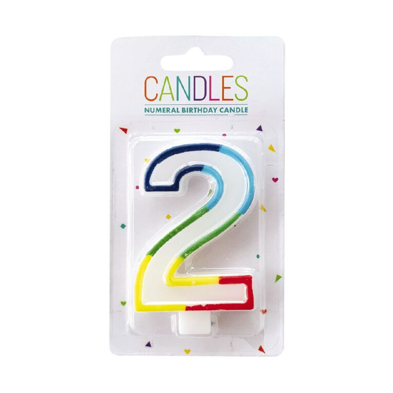 Numeral Candle 2 Rainbow Border 80mm x 10mm White, , hi-res