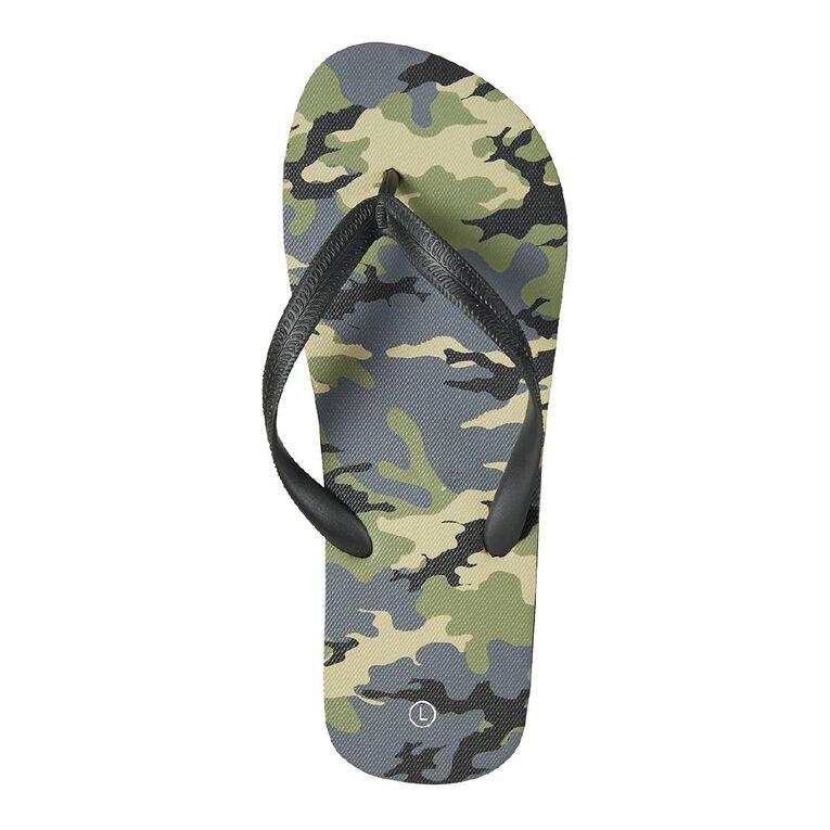 H&H Camouflage Jandals, Green Dark, hi-res