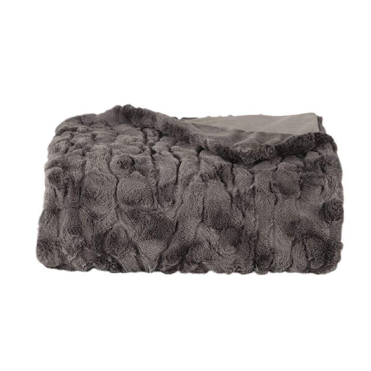 Living & Co Textured Faux Fur Throw Charcoal 120cm x 140cm, Charcoal, hi-res
