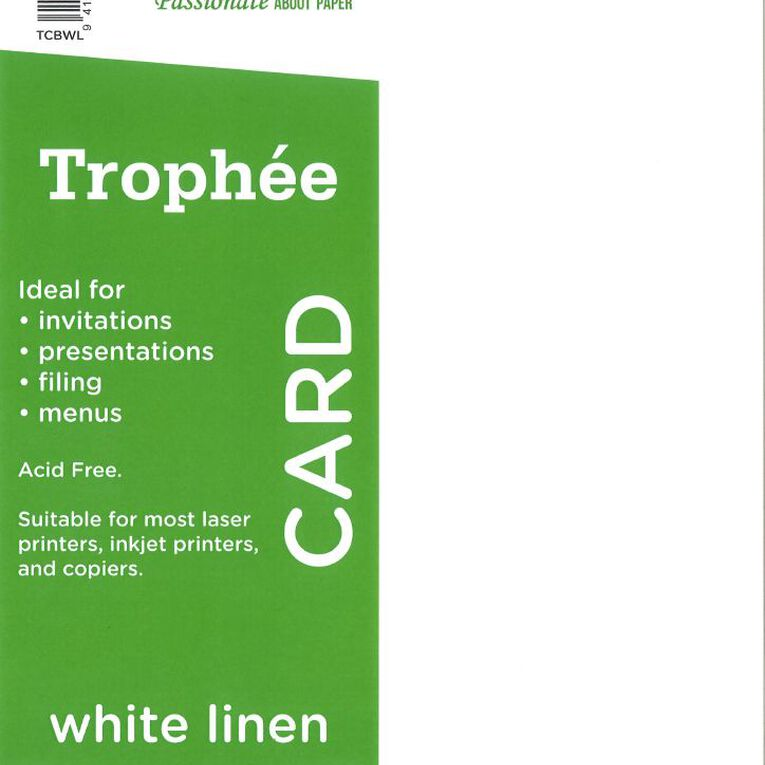 Trophee Card 160gsm 100 Pack Linen White A4, , hi-res