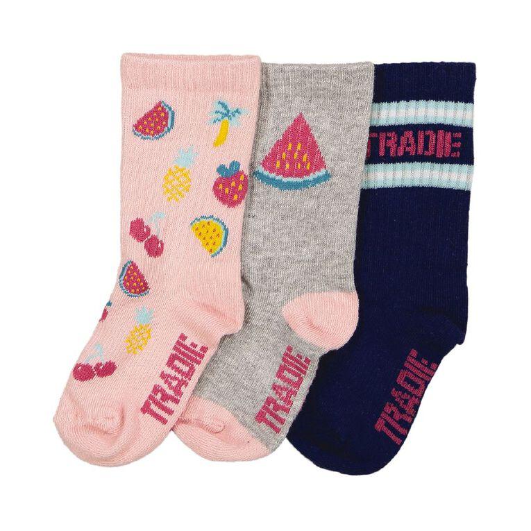 Tradie Girls' Rib Crew Socks 3 Pack, Blue Mid, hi-res