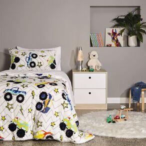 Living & Co Kids Comforter Set Plush Sherpa Reverse Trucks King Single