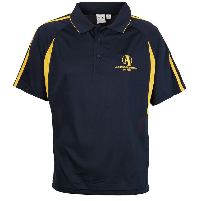 Schooltex Alexandra Primary Short Sleeve Polo with Embroidery, Navy/Gold, hi-res