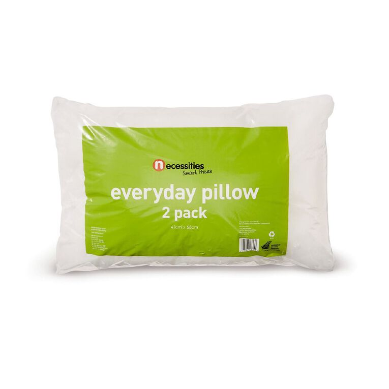 Living & Co Pillow 2 Pack White 66cm x 41cm, White, hi-res