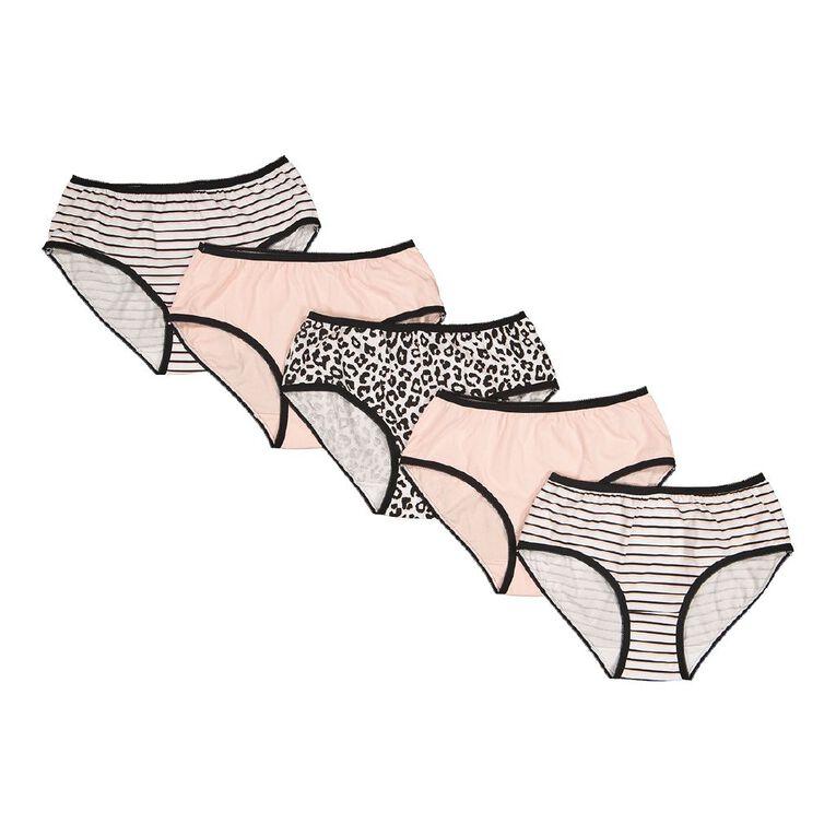 H&H Women's Midi Briefs 5 Pack, Pink, hi-res