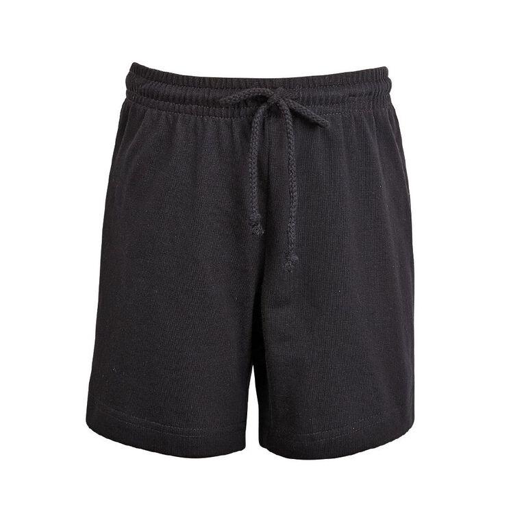 Schooltex Kids' Long Length Knit Shorts, Black, hi-res