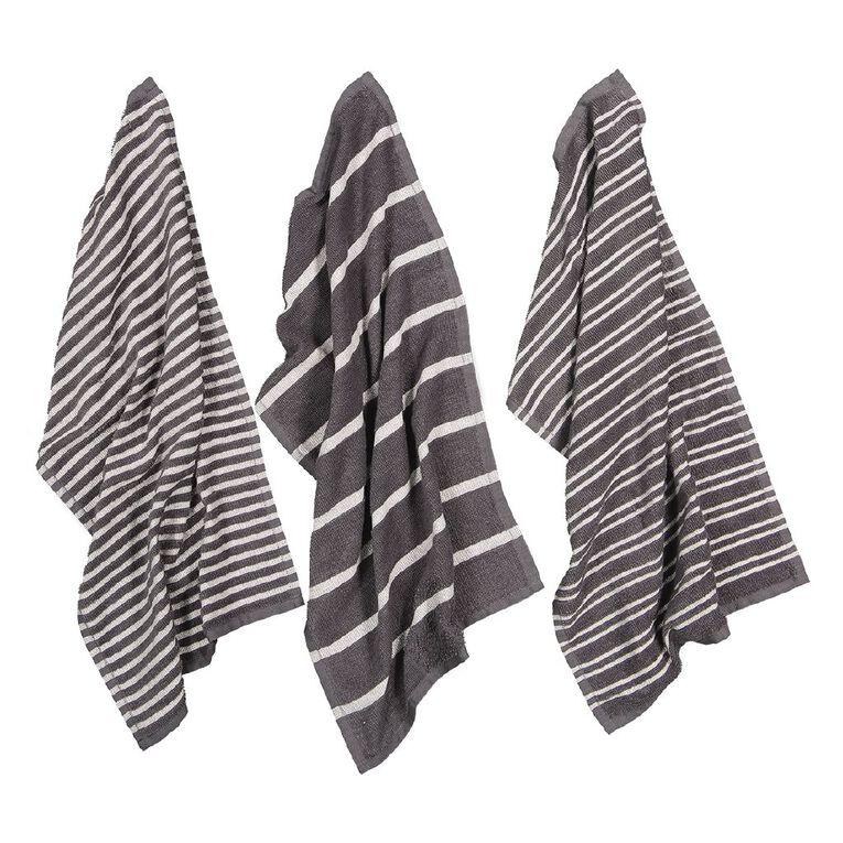 Living & Co Terry Stripe Tea Towel Set 3 Pack Charcoal 40cm x 65cm, , hi-res