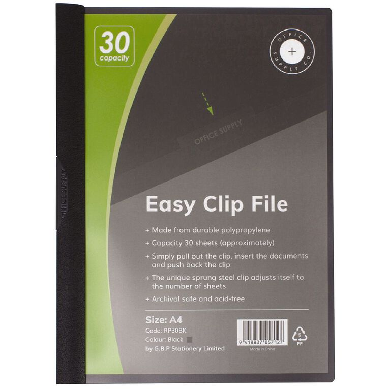 Office Supply Co Easy Clip File 30 Capacity Black A4, , hi-res