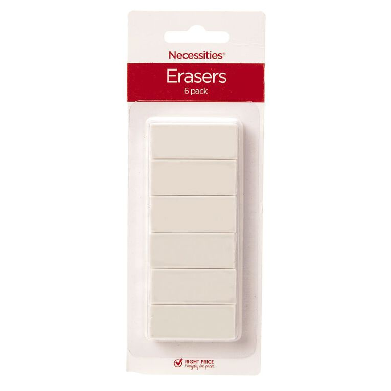 Erasers Small White 6 Pack, White, hi-res