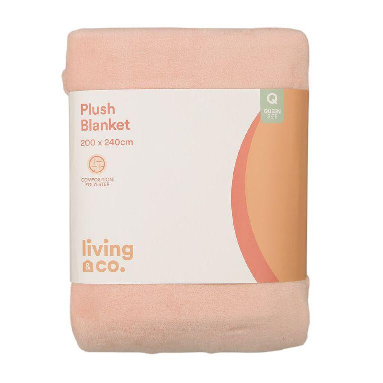 Living & Co Blanket Plush Pink Queen, , hi-res