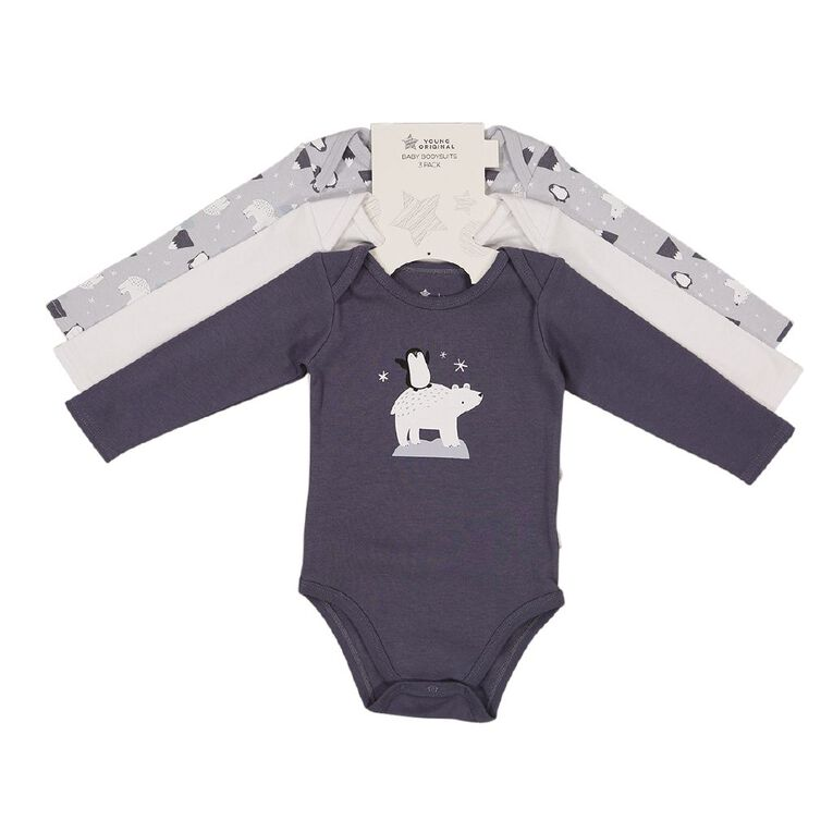 Young Original Baby 3 Pack Long Sleeve Bodysuits, Blue Mid, hi-res