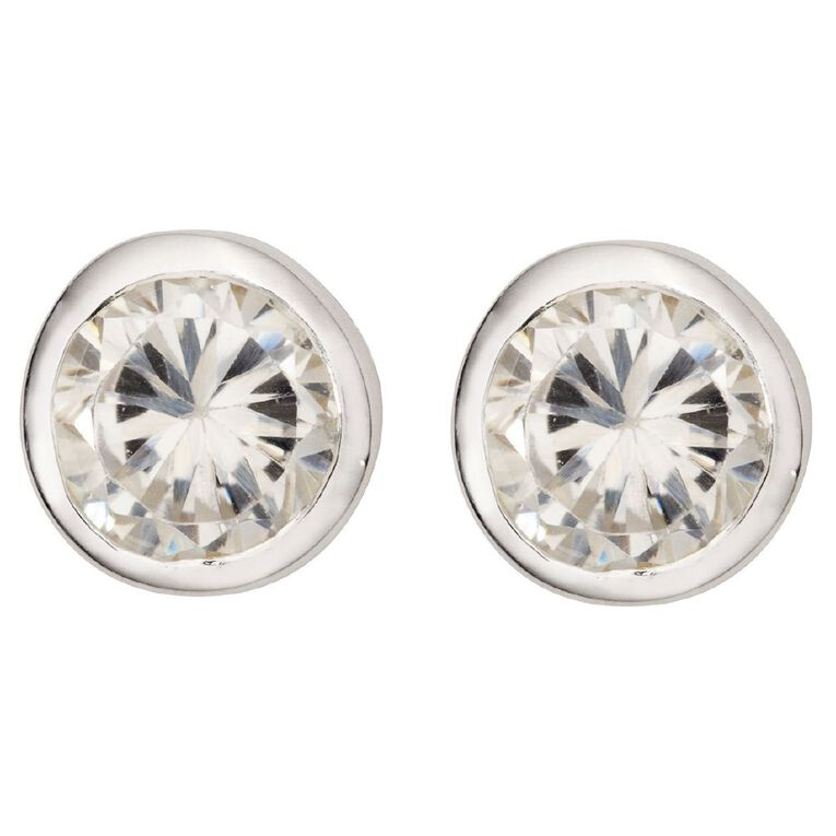 Sterling Silver CZ Rub Over Stud Earrings 4mm, , hi-res