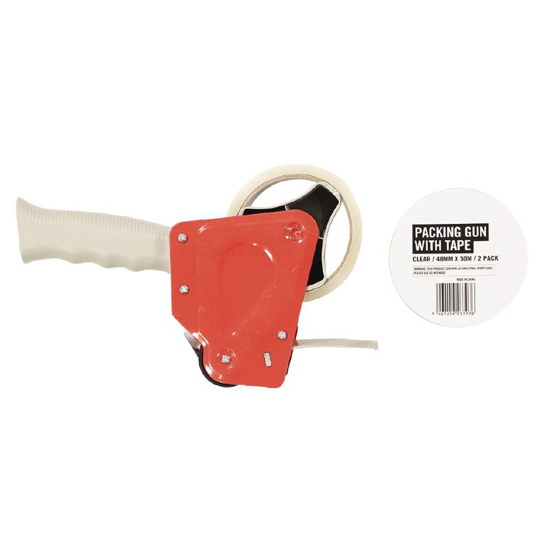 No Brand Packaging Tape Gun & 2 Tapes Clear 48mm x 50m Red/Grey Gun, , hi-res
