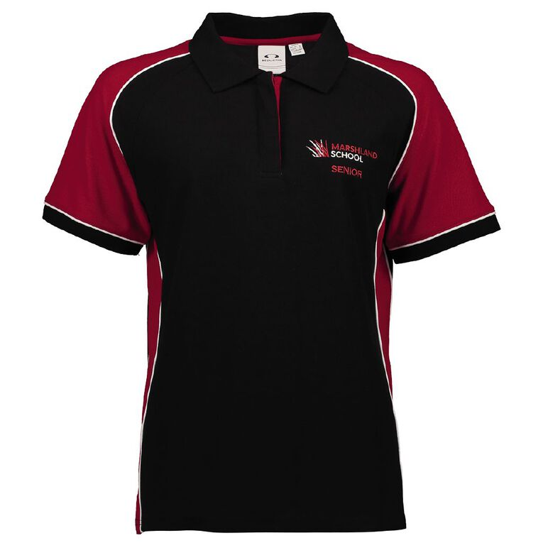 Schooltex Marshland Senior Short Sleeve Polo with Embroidery, Black/Red/White, hi-res