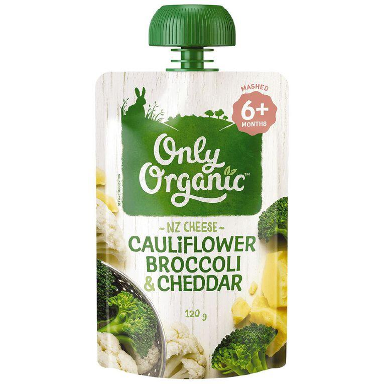 Only Organic Cauliflower Broccoli & Cheddar Pouch 120g, , hi-res
