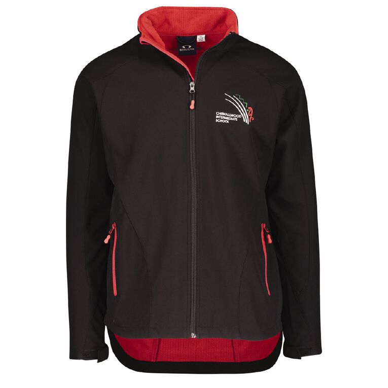 Schooltex Chisnalwood Intermediate Softshell Jacket with Embroidery, Black/Red, hi-res