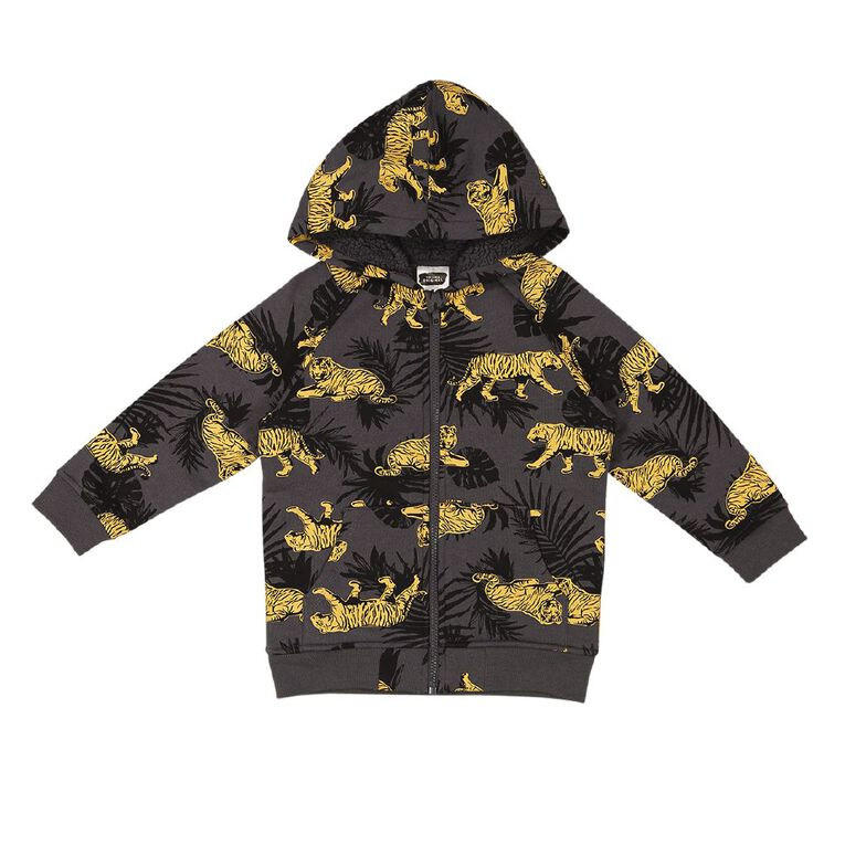 Young Original Sherpa Zip-Thru Hoody Sweatshirt, Grey Dark TIGER, hi-res