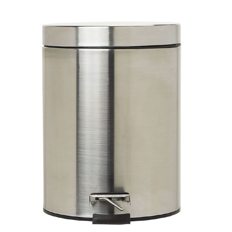 Living & Co Pedal Bin Stainless Steel Silver Silver 5L, , hi-res