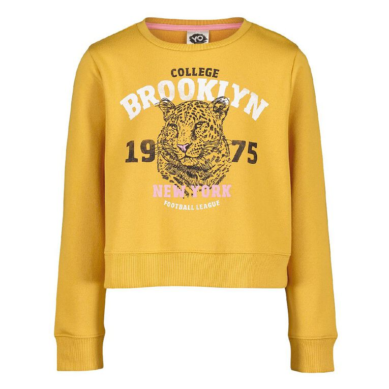 Young Original Pull Over Print Crew Sweatshirt, Yellow Dark, hi-res