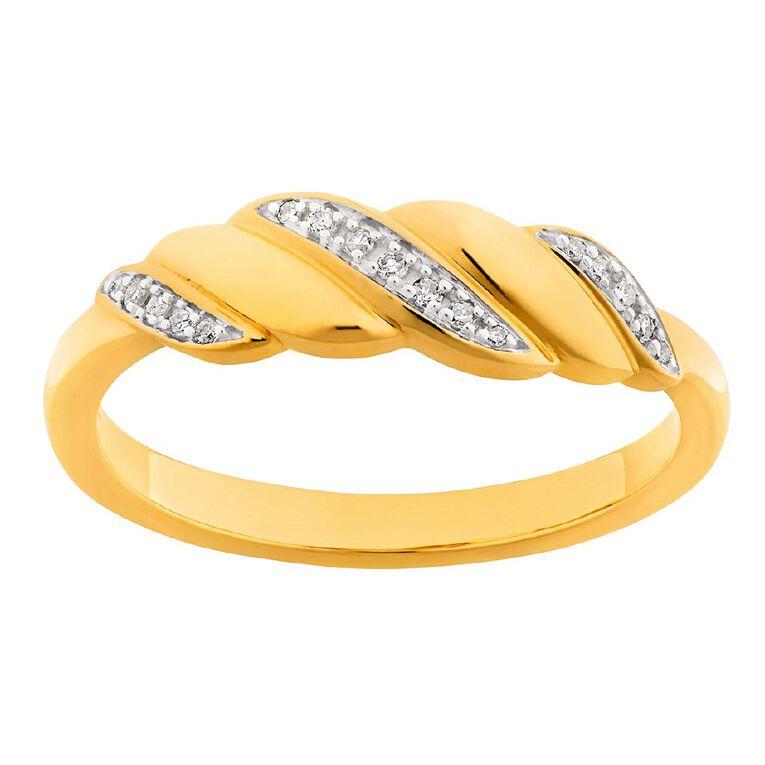 0.05 Carat Diamond 9ct Gold Twist Band Ring, Yellow Gold, hi-res