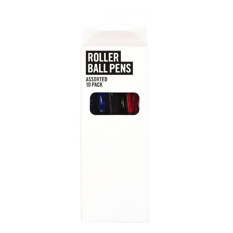 Deskwise Roller Ball Pen Extra Fine Assorted 10 Pack Assorted, , hi-res