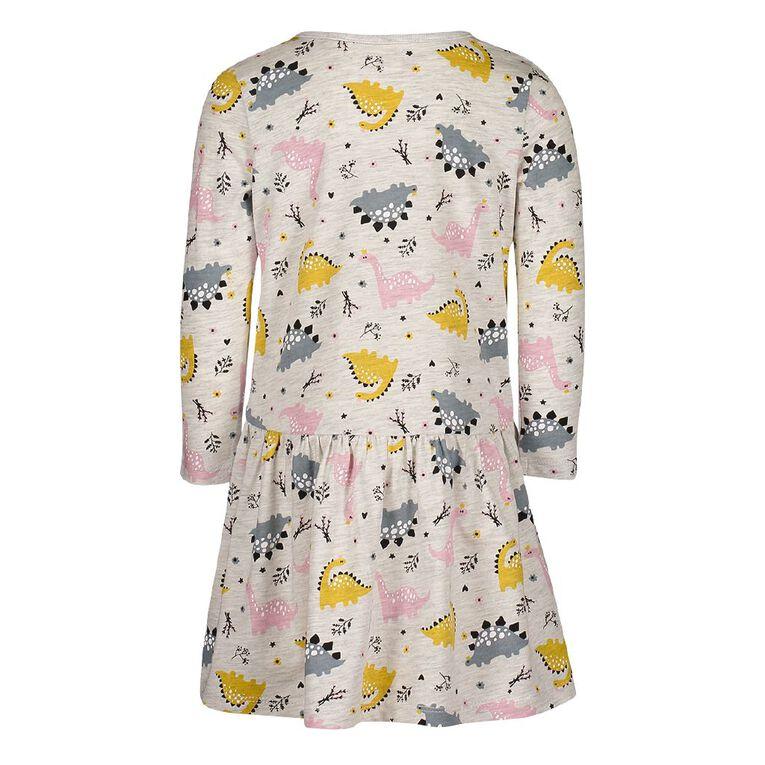 Young Original Toddler Long Sleeve Printed Dress, Grey Light, hi-res