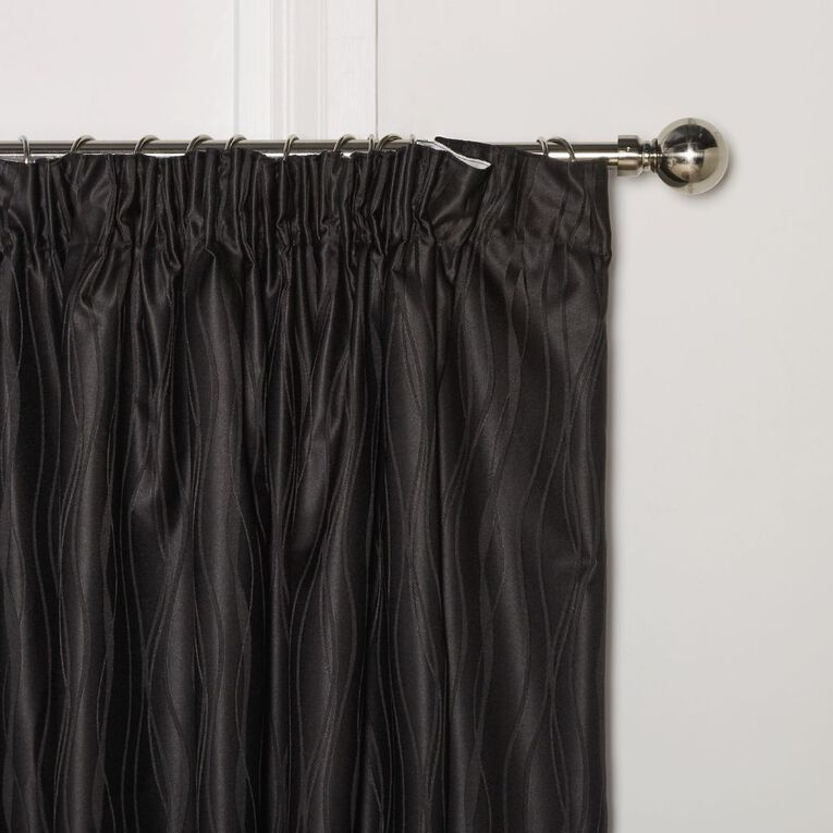 Living & Co Swirl Curtains Black 150-230cm Wide/160cm Drop, Black, hi-res
