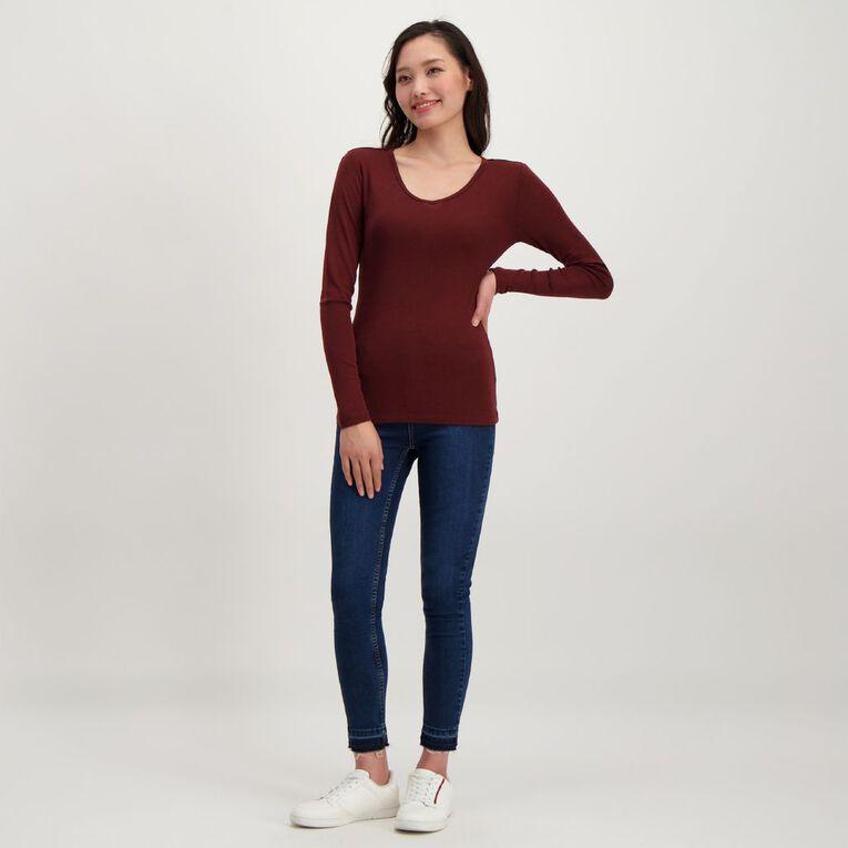 H&H Women's Merino Blend V Neck Top, Red Dark, hi-res