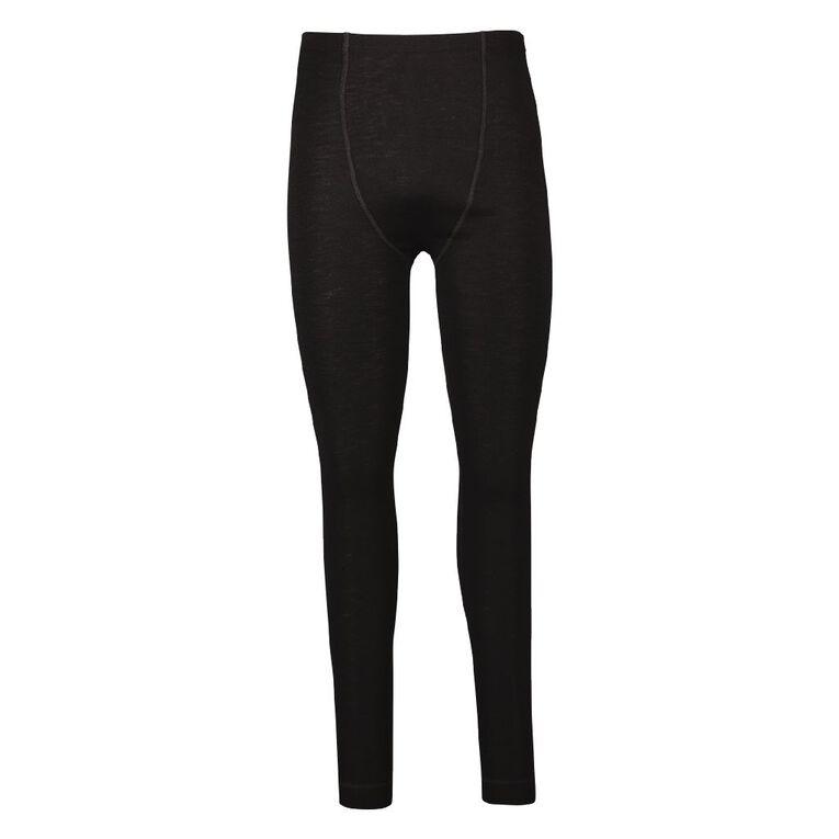 H&H Men's 100% Merino Wool Long John Thermal, Black, hi-res