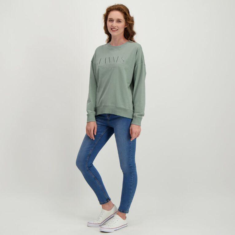 H&H Women's Acid Wash Crew Sweatshirt, Green Light, hi-res