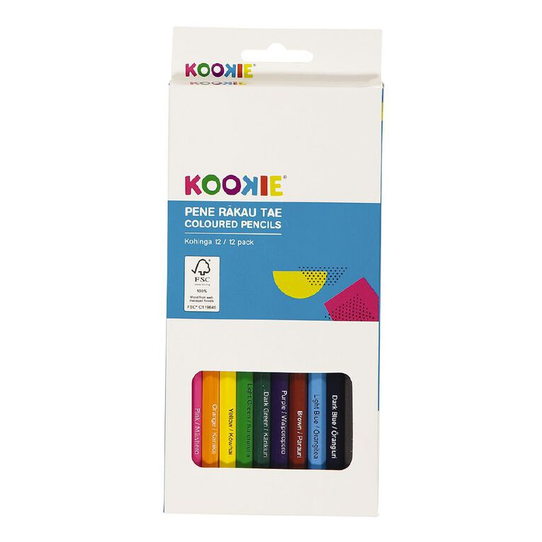 Kookie Te Reo Coloured Pencils Multi-Coloured 12 Pack, , hi-res image number null