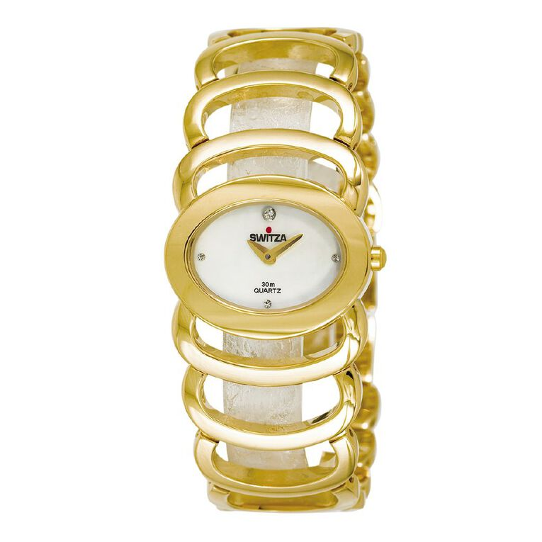 Switza Ladies' Ion Plating Gold Chain Link Watch with Black Dial, , hi-res