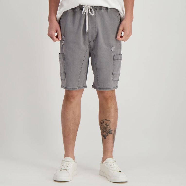 H&H Men's Elasticated Waist Vintage Cargo Shorts, Grey Mid, hi-res