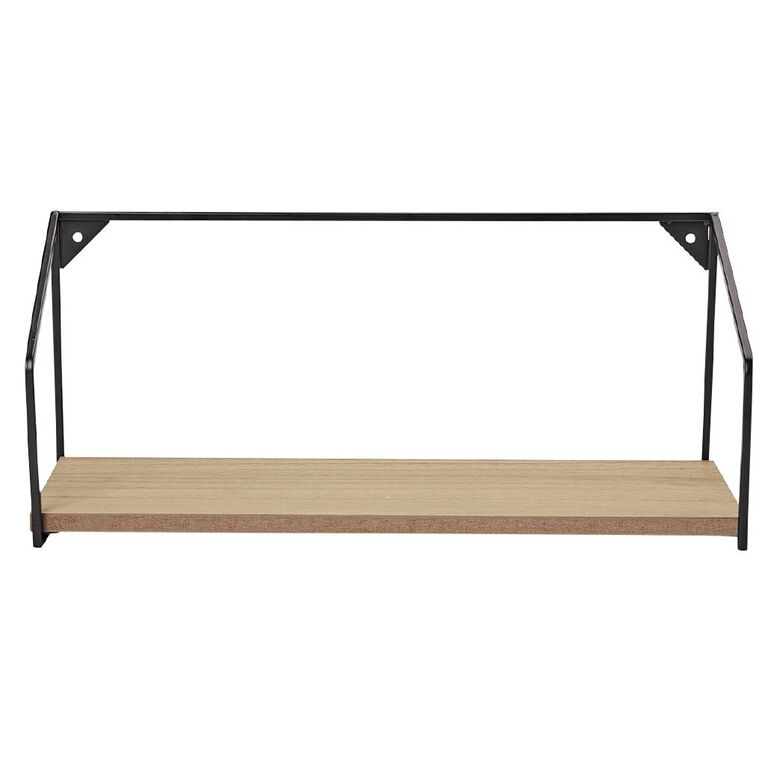 Living & Co Levi MDF Shelf with Metal Black 45cm x 16cm x 19cm, , hi-res