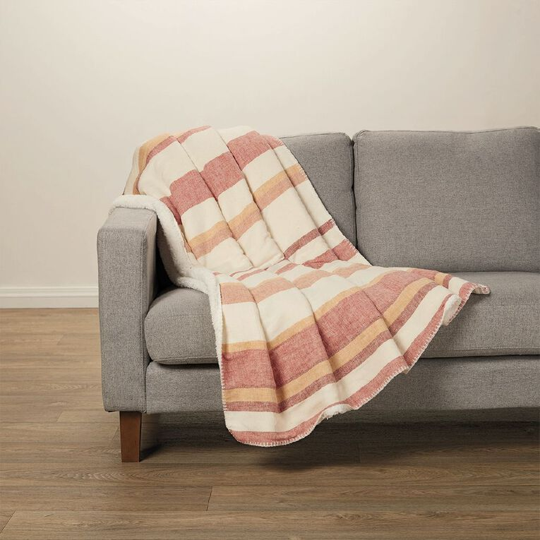 Living & Co Linen Blend Stripe Sherpa Throw Paprika Red 127cm x 152cm, Red, hi-res image number null