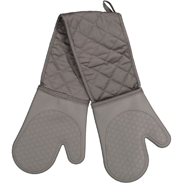 Living & Co Silicone Double Oven Glove Charcoal 90cm x 18cm, , hi-res