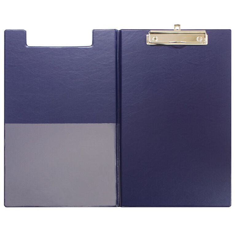 Office Supply Co Clipboard Foolscap Pvc Double Navy, , hi-res