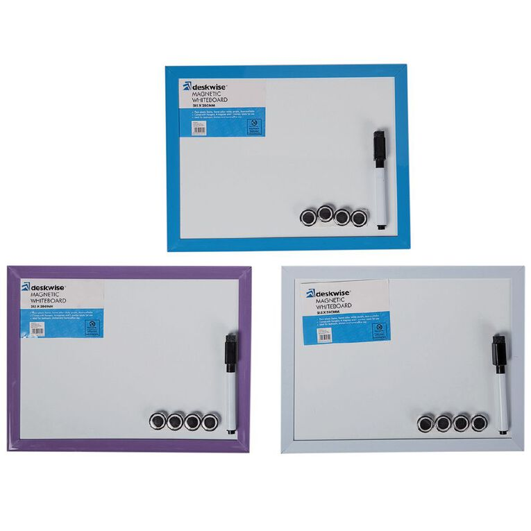 Deskwise Magnetic Whiteboard 215mm x 280mm Assorted, , hi-res