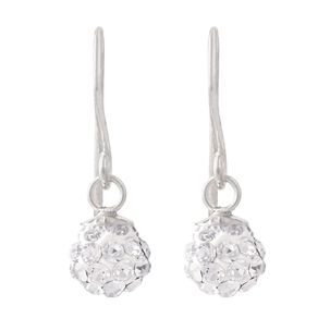 Sterling Silver White Crystal Drop Earrings 6mm