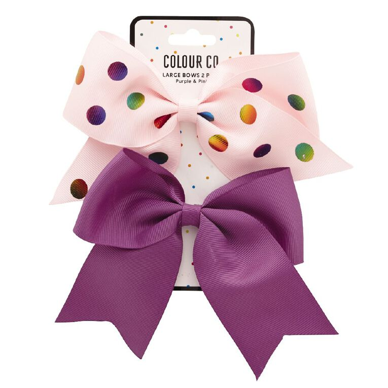 Colour Co. Large Bows Light Pink Rainbow Spot and Purple 2 Pack, , hi-res
